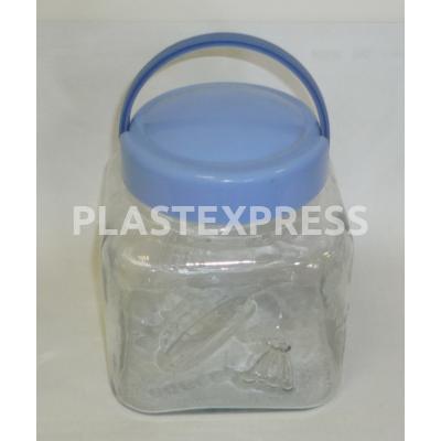 Négyszögletű műa. tetejű 2 L-es üveg