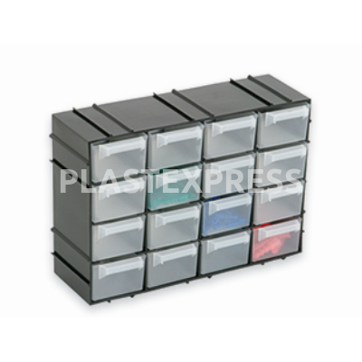 16 fiókos doboz  22x7x15 cm - Fekete