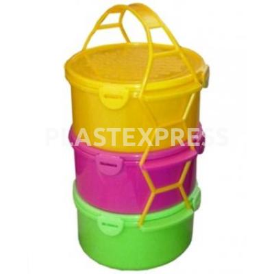 Csatostetős, színes ételhordó, 3x1,5 L - Színes