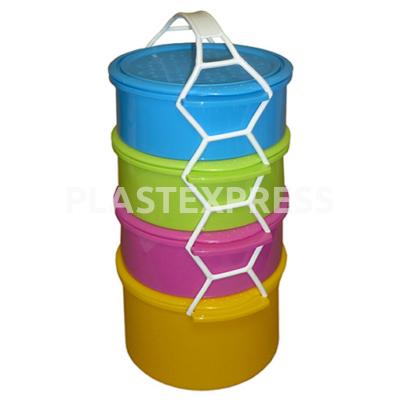 4 részes ételhordó színes (3x1,5L+1x 2L) - Színes