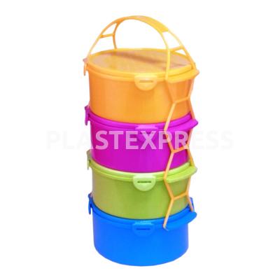 Csatostetős, színes ételhordó, 4x1,5 L-es - Színes